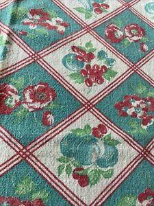 "Vintage Fruit & Floral Cotton Small Tablecloth 34"" x 41"""