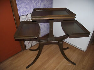 Antique MCM 3 TIERED Wood Mahogany MERSMAN DUNCAN PHYLE TABLE W/ BRASS FEET End