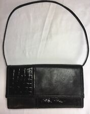 MEYERS Vintage Clutch / Purse ~ Black with Textured Patent Accents ~ USA