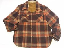 Vintage Buffalo Plaid Work Shirt Jacket Fleece Lined Anchor Button Size M