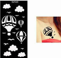 Balloon Clouds Bird Henna Arm Hand Stencils Templates Body Art Painting Black