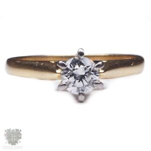 Beautiful vintage 18ct yellow gold diamond solitaire engagement ring