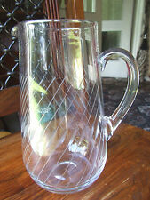 Vintage Clear Glass Jug with a pattern of Diagonal cuts