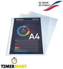 100 Pochettes Plastique Plastifiée Perforée Transparent A4 Feuille Rangement