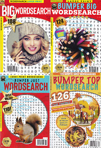 4 X WORDSEARCH PUZZLE BOOKS - 468 PUZZLES - 3 LARGE PRINT 1 CLEAR PRINT