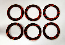 VINTAGE 6 TORTOISE FLAT PLASTIC RING RINGS CIRCLES • 44mm