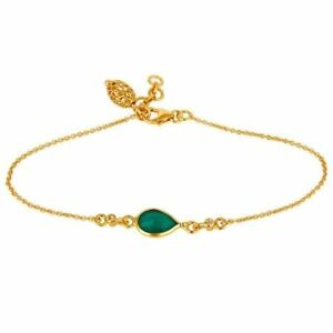 18K Yellow Gold Plated Silver Green Onyx White Topaz Chain Bracelet Jewelry