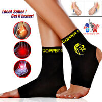 Copper Ankle Support Brace Elastic Sport Compression Sleeve Fit Relief Pain Foot