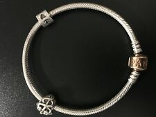 PANDORA SILVER BRACELET WITH CHARMS AND ROSE GOLD CLAMP