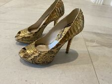 Dior Python Beige And Gold Peep Toe Heels
