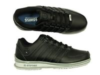 BNWT MENS LACE UP LEATHER TRAINERS K.SWISS RINZLER SP IN BLACK/DARK SIZES 6 - 12
