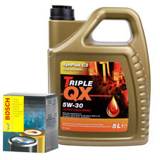 Triple QX Fully Syntetic C3 5W30 Engine Oil 5L & Bosch Oil Filter Service Kit