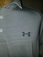 Under Armour Mens UA Polo Shirt Large Heat Gear Loose Fit Gray White