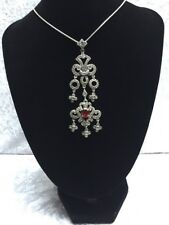 Sterling Silver Garnet Crystal Pendant Traditional Indian Jewellery 925 Silver