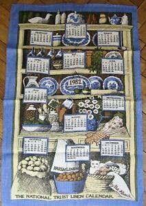 1982 CALENDAR Tea Towel PAT ALBECK  NATIONAL TRUST LINEN Dresser Collectible