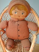 """Antique/Vtg 14"""" Handmade Oil Painted Face/Cloth Stitched Body Rag/Cloth Doll"""