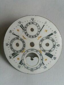 Antique Swiss Triple Calendar Moon Phase Pocket Watch dial
