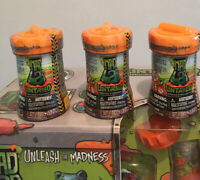 "Lot Of 3 Untamed Mad Lab Minis ""Titan figure WowWee toy Silver Slime Ultra Rare"