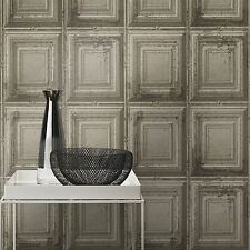 DISTRESSED WOOD PANEL WALLPAPER - RASCH 932607 - GREY NEW