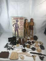 Vintage 1960's Marx Johnny West Cowboy & Indian Figures w/accessories & Box