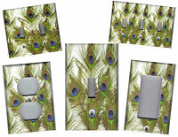 PEACOCK FEATHERS GREEN AND BLUE HOME WALL DECOR LIGHT SWITCH PLATE