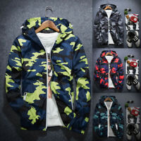 Men's Slim Camo Hoodie Thin Hooded Sweatshirt Coat Jacket Sport Outwear