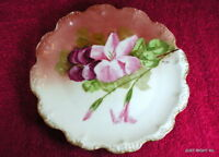 "Flambeau China Limoges Coiffe (Pink Flowers) 8 1/2"" PLATE Exc Signed Leona"