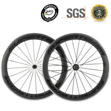 SUPERTEAM 700C 60mm Carbon Wheels Alloy Braking Surface Road Bicycle Wheelset