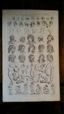 1790 LARGE COPPER PLATE ENGRAVING PRINCIPLES OF DRAWING THE PASSIONS -  C.COOKE