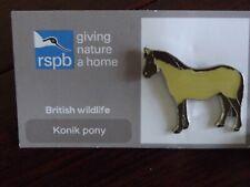 RSPB GNaH Konik pony Metal Pin Badge on FR Card