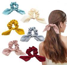 6 Pcs Satin Scrunchies Elastic Hair Band Bow Hair Scarf Girl Hair Tie Hair Rope