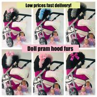 Pram hood fur trim, fur for DOLL prams, Childrens Pram fur. Pink, White,