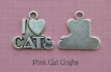 5 x i love cats tibetan silver charms pendentifs perles