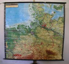 Schulwandkarte relief mapa el noroeste de Alemania 163x155cm ~ 1960 Knoll vintage Map