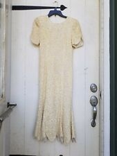 Vtg LAURENCE KAZAR Ivory Off White Beaded Sequin Evening Gown Dress Silk Wedding