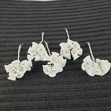 Vintage Tiny White Plastic Sugared Bells Christmas Wedding Crafts Made in Japan