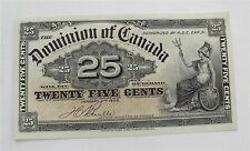1900 Dominion of Canada 25 cents Shinplaster banknote paper money 1/4 dollar XF
