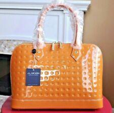 🎁 NWT ARCADIA Patent Leather Medium Satchel Bag in Orange Italy ART 3614
