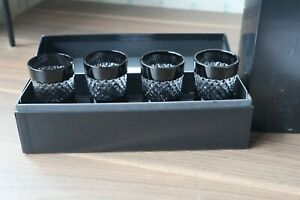 "4 Waterford Crystal John Rocha ""Black Cut"" Shot Glasses + Box, Superb Cond 23cm"