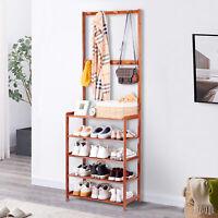 Vintage 5 Tier Wooden Coat Stand Hallway Shoe Rack Hanger Shelf Footwear Storage