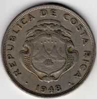 1948 COSTA RICA 2 COLONES NICE COIN