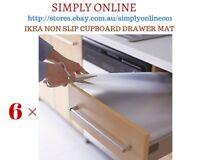 6 × IKEA VARIERA CLEAR NON SLIP CUPBOARD SHELF DRAWER MAT LINER 150 CM × 50 CM