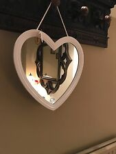 10x Shabby Chic Large White Heart Vintage Wooden Mirror Gift Hallway Bedroom Lot