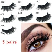 5 Pairs False Fake Eyelashes Thick Long 3D Eye Lashes Natural Extension Best