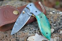 "HUNTEX Handmade Damascus 4.3"" Long Drop Point Hunting Folding Pocket Knife"