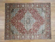 """7'9""""x9'10"""" Pure Wool Hand-Knotted Antiqued Re-Creation Oriental Rug R40483"""