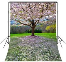 8X10FT Spring Nature Cherry Flowers Tree Grass Vinyl Backdrop Photo Background