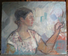 Oil painting Girl looking out the window Ukraine Russia USSR 1950-1960