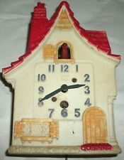 Lux Dutch cottage wall clock vintage windup novelty for parts or repair
