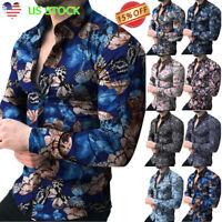 Stylish Mens Casual Dress Shirts Floral Print Long Sleeve Slim T-shirts Tops Tee